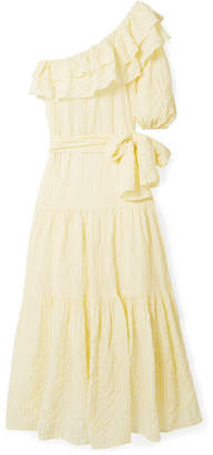 Lisa Marie Fernandez Arden Ruffled One-shoulder Striped Voile Maxi Dress - Pastel yellow