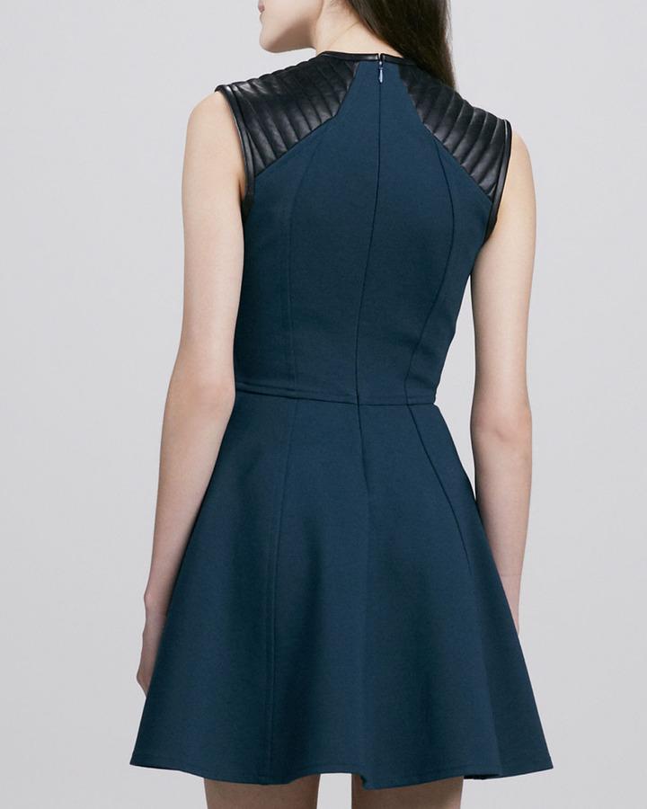 Cut25 Leather-Shoulder Sleeveless Dress