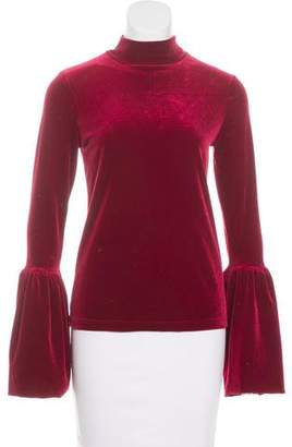 Torn By Ronny Kobo Velvet Bell Sleeve Top