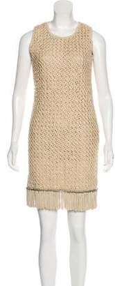 Salvatore Ferragamo Leather-Trimmed Mini Dress
