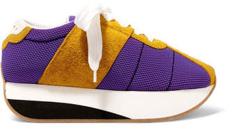 Marni Mesh And Suede Platform Sneakers - Purple