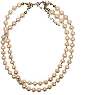 Farra - White Freshwater Pearls Double Strands Choker