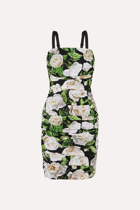 Dolce & Gabbana Ruched Floral-print Silk-blend Crepe De Chine Dress - Green
