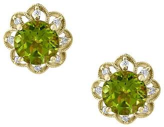 Bloomingdale's Peridot & Diamond Flower Stud Earrings in 14K Yellow Gold - 100% Exclusive