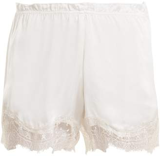 Icons Waterlily lace-trimmed silk-satin pyjama shorts