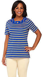 Quacker Factory Grommet Lurex Stripe ShortSleeve T-shirt