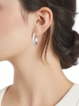 Adriana Orsini Silvertone & Crystal Huggie Earrings