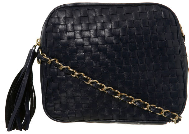 Navy Woven Chain Xbody Bag