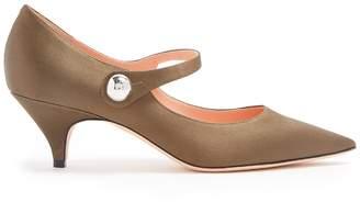 Rochas Point-toe Mary-Jane satin pumps