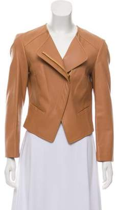 Michael Kors Crew Neck Leather Jacket gold Crew Neck Leather Jacket