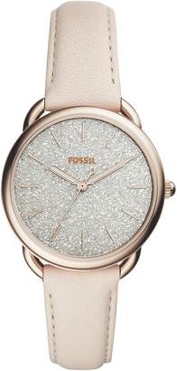 Fossil Tailor Glitter Dial Leather Strap Watch, 35mm