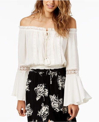 American Rag Juniors' Lace-Trimmed Off-The-Shoulder Peasant Top, Created for Macy's