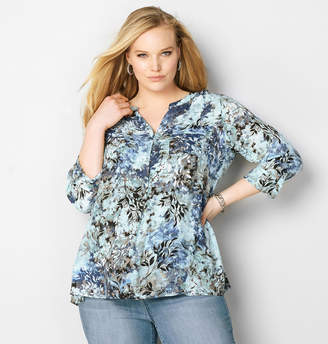 Avenue Blurred Floral Popover Top