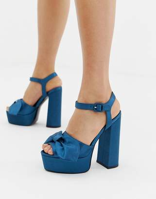 Asos DESIGN Hardy bow Platform Block Heeled Sandals