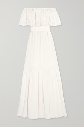 Temperley London Felicity Off-the-shoulder Lace-trimmed Silk Crepe De Chine Gown - Ivory