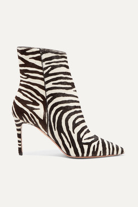 Aquazzura Alma 85 Zebra-print Calf Hair Ankle Boots - Zebra print