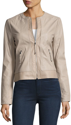 Via Spiga Zip-Front Collarless Leather Jacket, Brown $295 thestylecure.com