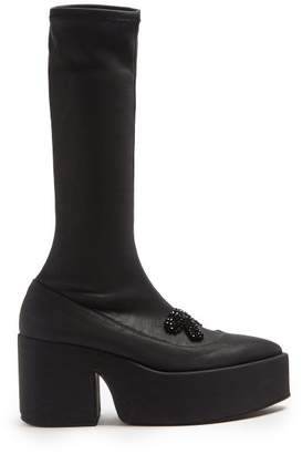 Simone Rocha Beaded Platform Leather Knee High Boots - Womens - Black