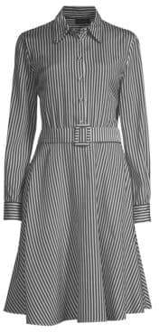 Piazza Sempione Striped Belted Fit-&-Flare Dress