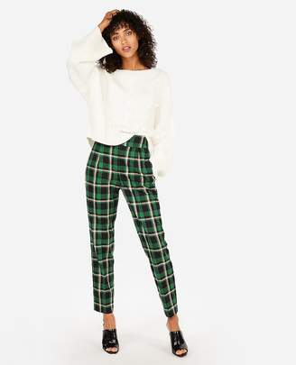 Express High Waisted Plaid Pleated Ankle Pant