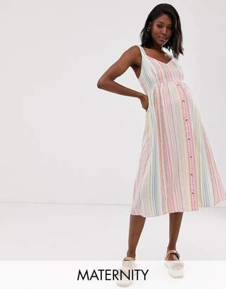 New Look Maternity stripe linen midi dress in white pattern