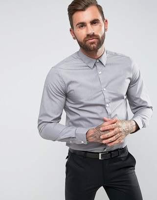 New Look Poplin Shirt In Regular Fit In Light Grey
