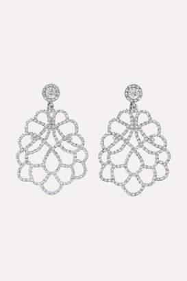 Kenneth Jay Lane Rhodium Plated Crystal Clip Earrings Silver