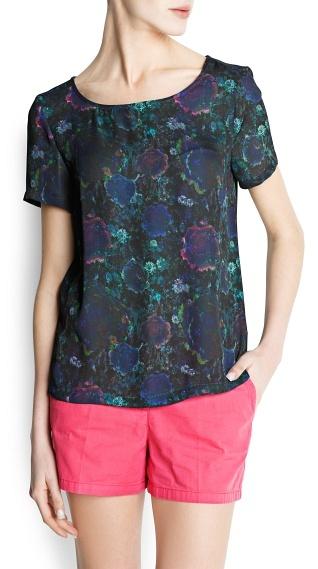 MANGO Floral Print Loose-Fit Blouse