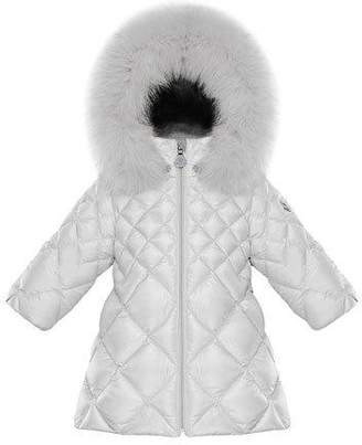 Moncler Tulle Diamond-Quilted Hooded Coat w/ Fur Trim, Size 12M-3