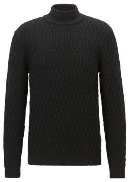 BOSS Hugo Long-sleeved turtleneck sweater in virgin wool M Black