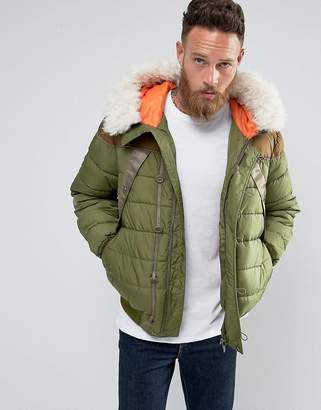 Hunter Hooded Fur Lined Bomber Jacket in Green
