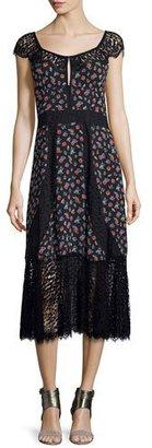 Nanette Lepore Cap-Sleeve Floral Silk & Lace Midi Dress, Black $598 thestylecure.com