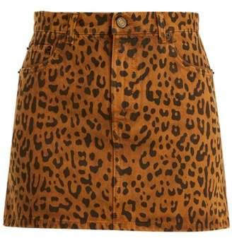 Saint Laurent Leopard Print Denim Mini Skirt - Womens - Leopard