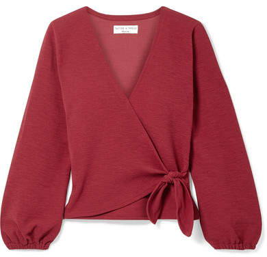 Madewell Miller Stretch-crepe Wrap Top - Claret