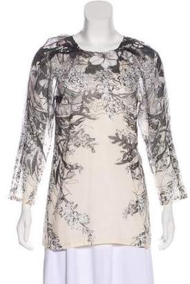 Lela Rose Floral Print Long Sleeve Top