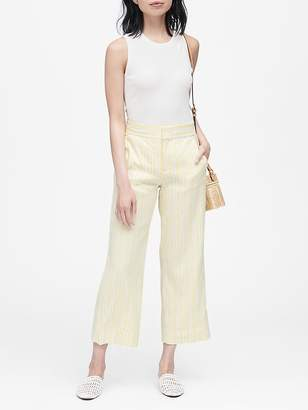 Banana Republic High-Rise Wide-Leg Linen-Cotton Cropped Pant