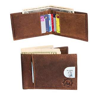 Bi-Fold leather wallet with front credit pocket & inside partition with 4 card slots & RFID protection