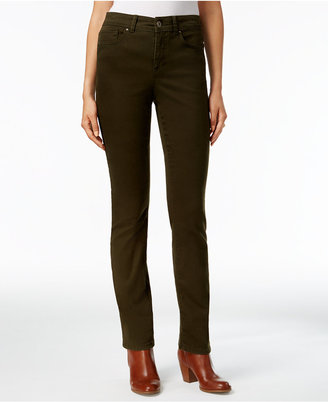 Style & Co. Tummy-Control Evening Olive Wash Straight-Leg Jeans, Only at Macy's $49 thestylecure.com