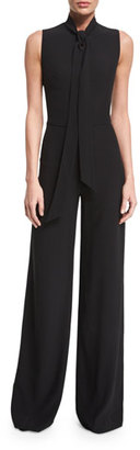 Ralph Lauren Collection Sheryl Tie-Neck Wide-Leg Jumpsuit, Black $1,790 thestylecure.com