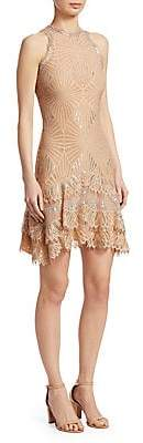 Jonathan Simkhai Women's Sheer Metallic Tiered Mini Dress