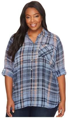 Vince Camuto Plus Size Long Sleeve Plaid Textures Georgette Two-Pocket Shirt Women's T Shirt