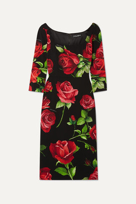 Dolce & Gabbana Floral-print Silk-blend Chiffon Dress - Black