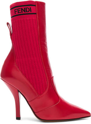 Fendi Leather & Knit Rockoko Mid Calf Boots in Red | FWRD