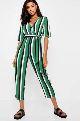 5145e2999ebc boohoo Striped Wrap Front Tapered Leg Jumpsuit