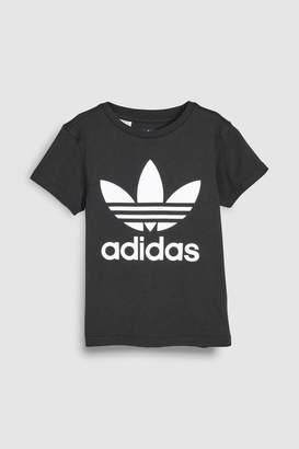 adidas Girls Little Kids Trefoil Tee - Black