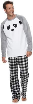 Men's Jammies For Your Families Panda Bear Microfleece Top & Plaid Bottoms Pajama Set