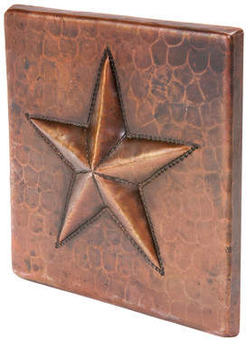 Premier Copper Products 4 x 4 Hammered Copper Star Tile in Oil Rubbed Bronze