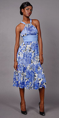 Periwinkle Floral Print Cocktail Dresses by Plenty