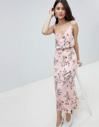 Oh My Love Buttoned Cami Maxi Dress In Floral Print