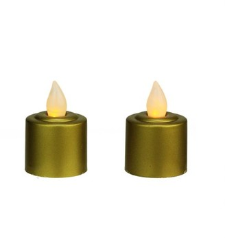 """Northlight Pack of 2 Gold Battery Operated LED Flickering Amber Lighted Christmas Votive Candles 2.25"""""""